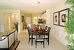 photo looking through the dining room in a home at The Pines at Charleston Park in Summerville, SC