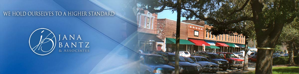 Jana Bantz Real Estate. Header photo with Summerville, South Carolina shops on Main Street
